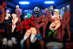 3girls 5boys aqua_hair ass ass_grab barefoot black_hair blonde_hair bob-omb boo boots breasts chain_chomp cleavage condom cum cum_in_container cum_in_mouth cum_inside cum_on_breasts dark-skinned_male dark_skin double_handjob dress fellatio from_behind gerph group_sex hair_over_eyes hair_over_one_eye handjob high_heel_boots high_heels hood huge_ass interracial koopa_troopa large_breasts long_hair mask mug multiple_boys multiple_girls neck_grab nintendo on_one_foot oral original_character piranha_plant pussy rule_63 shy_guy shygirl snifit spitroast standing standing_sex stomach_bulge strapless_dress super_mario_bros. testicles thighhighs used_condom white_legwear wide_hips
