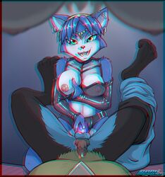 3_toes anaglyph anal_insertion anthro barefoot bindi black_fur black_nose blue_fur blue_hair breast_grab breasts clothes color crossover darknek0gami digimon dildo ear_piercing erection female fox fur furry furry_breasts furry_ears hair indoors insertion interspecies jewelry krystal looking_at_viewer lucario lying male male_pov nintendo on_back open_eyes open_mouth pegging penis piercing pointy_ears pokemon pov pov_eye_contact precum raised_legs sex_toy short_hair smile star_fox strap-on teal_eyes testicles white_fur