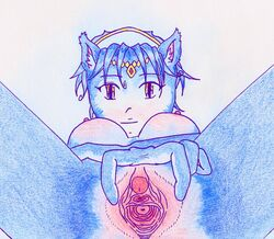 anthro blue_fur blue_hair breasts closed_mouth color female female_only fox front_view fur furry furry_breasts furry_ears hair krystal looking_at_viewer nipples nude open_eyes pointy_ears short_hair solo star_fox vulva white_background white_fur