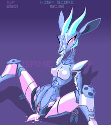 android antelope anus blush breasts cum cum_in_pussy cum_inside cum_on_breasts cum_on_face female game_over gazelle gradient_background horn mammal phlegraofmystery pink_eyes presenting pussy smile solo spread_legs spreading