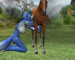 3d anthro blue_fur breasts color day female fox fur furry furry_breasts furry_ears hornybunny horse interspecies krystal male nude outdoors pointy_ears star_fox tagme white_fur