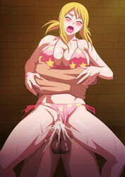 bikini blonde_hair breasts censored closed_eyes cum cum_in_pussy fairy_tail female hug human large_breasts lime_(purple_haze) lucy_heartfilia male open_mouth panties_aside penis sex straight swimsuit tattoo vaginal_penetration