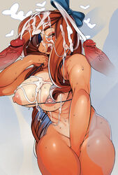 big_breasts bikini breasts brown_eyes brown_hair canine canine clothing cum cum_in_hair cum_on_breasts cum_on_face female hair heart looking_at_viewer mammal nipples open_mouth penis ribbons simple_background sindoll solo swimsuit tongue