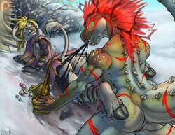 anthro breasts brute_wyvern claws deviljho female hair horn iggi mammal monster_hunter muscles pussy red_eyes savage_deviljho scar video_games