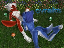 3d anthro ass barefoot blue_fur blue_hair breasts claws color cyraks day female female_only fingering fox fur furry furry_ass furry_breasts furry_ears furry_tail grass hair krystal lying multiple_females nipples nude on_back on_front outdoors pink_nipples pointy_ears red_fur short_hair star_fox tail vulva white_fur white_hair yuri