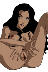 anus asami_sato avatar_the_last_airbender black_hair breasts eyes_shadow female green_eyes long_hair mistermultiverse nipples nude pussy sitting smile solo spread_pussy the_legend_of_korra
