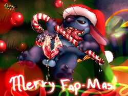2013 4_fingers 4_toes alien antennae balls barefoot black_eyes blue_fur blue_nose box candy candy_cane christmas christmas_tree chubby claws cum cum_on_balls cum_on_penis cum_string cute disney drooling english_text erection fur gift grasp half-closed_eyes hat headgear hemipenes hi_res high_resolution highres holidays licking lilo_and_stitch long_ears lying male male_only masturbation multi_cock nude on_back open_mouth orgasm ornament penis pink_penis plant puggy saliva shadow sharp_claws shiny solo stitch teeth text tongue tongue_out tree