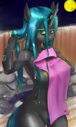 anthro black_fur black_skin blue_hair blush breasts changeling equine female friendship_is_magic fur green_eyes hair hooves horn horse kenoi looking_at_viewer mammal moon my_little_pony nipples outside pony presenting pubes pussy queen_chrysalis_(mlp) solo standing towel wet wet_hair