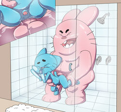 anal anal_sex ass balls closed_eyes father feline feline gumball_watterson incest interspecies jerseydevil lagomorph mammal orgasm parent penetration penis rabbit richard_watterson shower size_difference son the_amazing_world_of_gumball