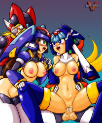 aile blonde_hair breasts cum_on_vagina doggy_style fairy_leviathan green_eyess mega_man mega_man_zero mega_man_zx model_lx model_z penis vaginal_penetration vcampan vent zero
