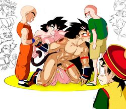 6+boys alien anal bardock black_eyes black_hair broly dragon_ball_z eating group_sex hat human incest krillin long_hair male male_only master_roshi multiple_boys multiple_males muten_roushi nappa nude oral penis precum pubic_hair raditz rape rape_face saiyan sandals sex son_gohan son_goku sunglasses tail tail_grab tear turles uncensored uniform watching white_hair yaoi