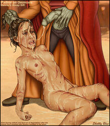 areola attack_of_the_clones broken_rape_victim brown_eyes brown_hair bukkake cum_covered cum_everywhere dangling_testicles erect_nipples excessive_cum exhausted facial female flaccid hair_grab injury male nipples no_underwear nute_gunray open_mouth padme_amidala pants_down peeing penis perky_breasts rape rolling_eyess scars shabby_blue small_breasts star_wars testicles veiny_penis