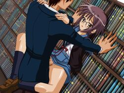 1boy animated animated book brown_eyes censored cum female glasses nagato_yuki penis purple_hair school_uniform sex short_hair suzumiya_haruhi_no_yuuutsu vagina