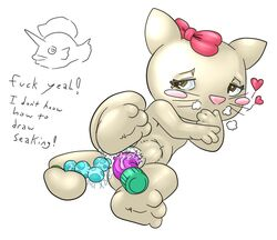 blush bow color dildo female female_only fur hello_kitty infinityplus1 insertion masturbation nude pokemon pussy_juice seaking solo tagme vulva whiskers