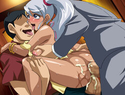 ahe_gao anal bakugan blush censored cum dark_skin ejaculation fucked_silly highres julie_hayward lowtech-city makino_tomoyasu naughty_face penis sex sweat threesome