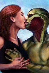 breast_grab commander_shepard drell femshep interspecies kissing mass_effect thane_krios