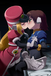 aile bed blonde_hair blush breast_grab breast_squeeze breasts brown_hair eyess_closed green_eyess kissing kissing machbow mega_man megaman_zx multiple_girls mutual_yuri prairie rockman rockman_zx yuri