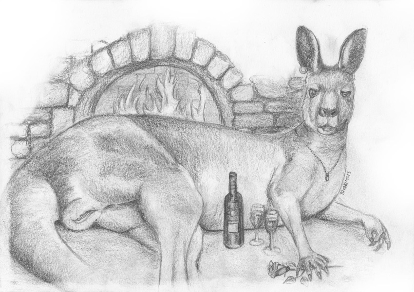2013 5_fingers alcohol beverage bottle claws cup drink ear_piercing female female_only feral fire fireplace flower food foxia fur furry_ears furry_tail greyscale hi_res jewelry kangaroo long_ears looking_at_viewer lying mammal marsupial monochrome necklace nude on_side open_eyes open_mouth pencil_(artwork) piercing plant pussy realistic rose solo tail traditional_media_(artwork) wine wine_glass