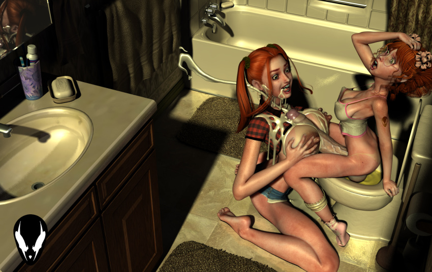 3d balls barefoot bath bathroom bathtub big_breasts big_penis bimbo breasts cabinet cum cum_drip cum_in_face cum_on_breasts cum_on_face cum_shot cumdrip cumshot cup faucet freckles futa_on_female futanari ginger glasses grendel hair hillbilly incest jean_shorts large_breasts large_penis mirror orange_hair paizuri penis plunger rug shirt shocked shorts siblings sink sisters soap socks testicles tied_hair toilet toilet_paper toothbrush toothpaste towel tub twintails vest