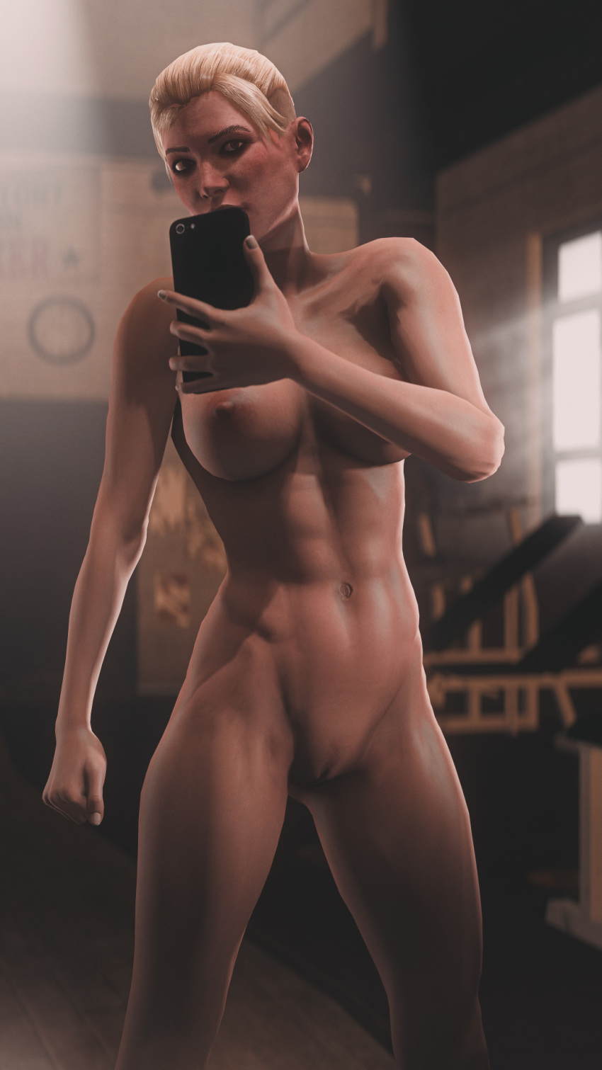 1girl 2016 3d 5_fingers abs absurdres areolae big_breasts blonde_hair blush breasts brown_eyes cassie_cage eyebrows eyelashes female_only fit hair hands human large_breasts lips looking_at_viewer mortal_kombat mortal_kombat_x muscle_tone muscular muscular_female navel netherrealm_studios nipples nose nude phone pussy selfie sfmporn solo source_filmmaker standing