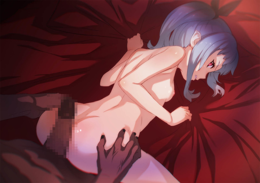 1boy all_fours aritsuka_ariichi ass blue_hair breasts censored dark_skin female highres imminent_sex large_penis looking_back mosaic_censoring nipples original penis red_eyes small_breasts