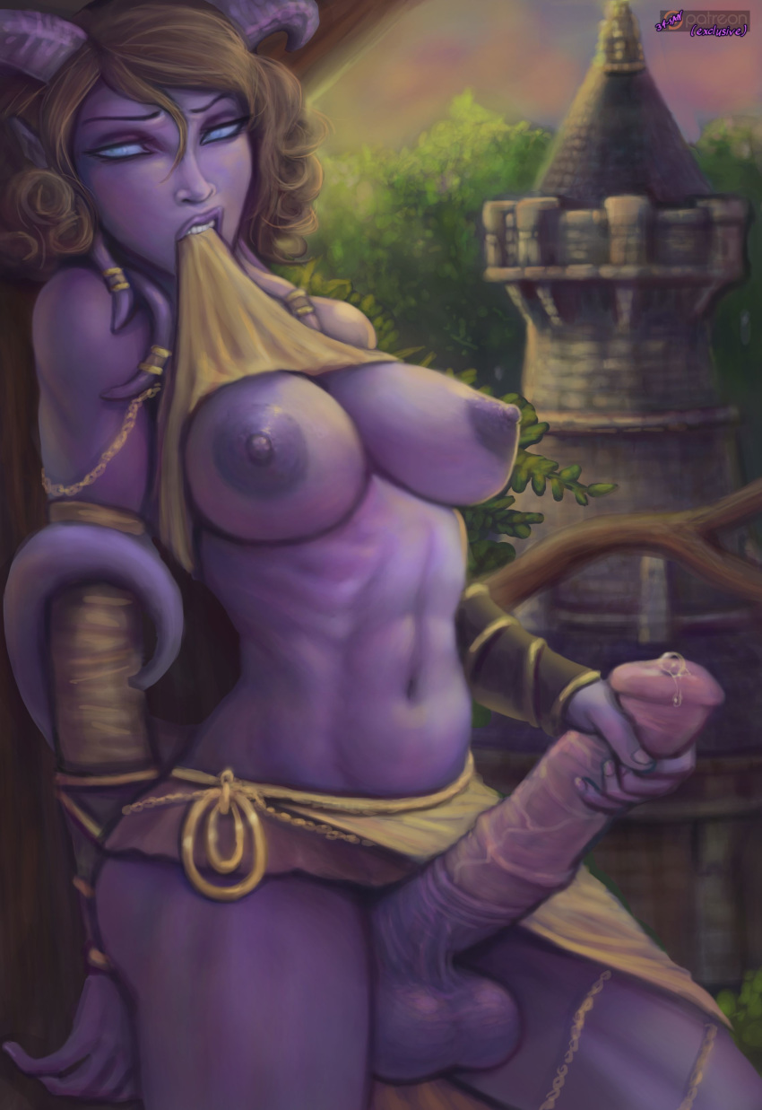 34-san breasts dickgirl draenei equine_penis erection futa_solo futanari highres horsecock intersex large_breasts nipples penis purple_skin solo standing testicles world_of_warcraft