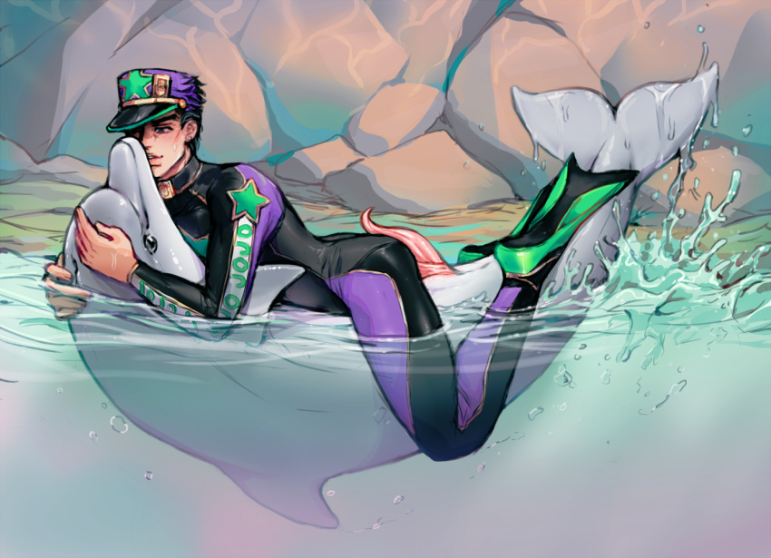 cetacean clothed clothing dolphin duo erection feral jojo's_bizarre_adventure jotaro_kujo kora-jo male mammal marine outside partially_submerged penis side_view tapering_penis water yaoi zoophilia