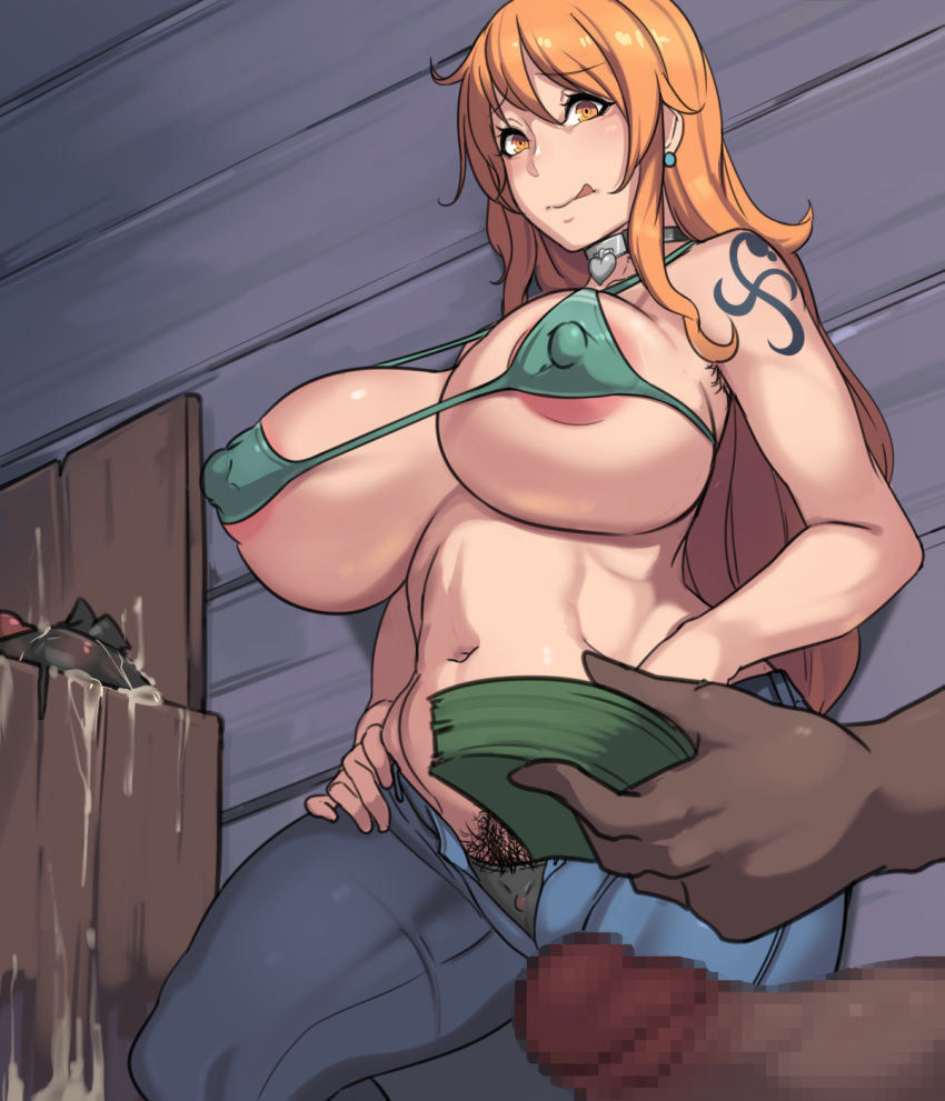 breasts cum female large_breasts money nami one_piece owl_(artist) penis prostitution pubic_hair solo tagme tongue_out