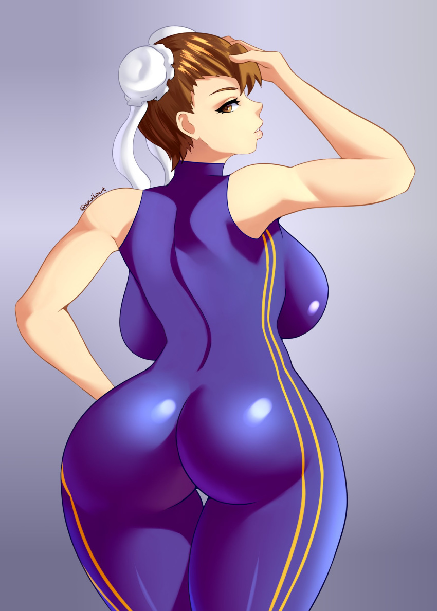 ass backboob breasts brown_eyes brown_hair chun-li huge_ass huge_breasts large_breasts skintight sowilo street_fighter thick_thighs thighs thin_waist