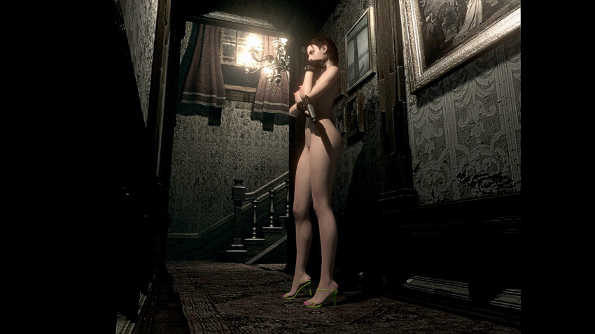 3d big_breasts breasts brown_hair capcom feet female game jill_valentine large_breasts legs mod pussy resident_evil sandals