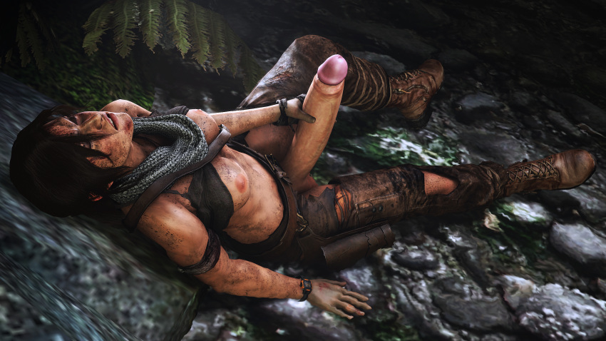3d areolae breasts dickgirl erection futa_only futanari giallo1972 huge_cock lara_croft masturbation penis solo source_filmmaker tomb_raider tomb_raider_reboot
