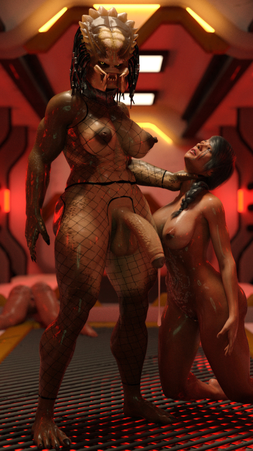 3d after_sex aftermath alien areolae ass balls ballsack big_breasts big_penis black_hair braid breasts choke claws club_shaped_penis cum cum_drip cum_on_body cum_string dangling_testicles dreadlocks eye_roll eyes_rolling_back female fishnet_bodysuit fishnets futa futa_on_female futadom futanari gape gaping_pussy grate green_scales grey_hair hanging_balls huge_breasts huge_cock large_breasts low_hanging_testicles mascara mascara_tears muscular muscular_futanari neck_grab nipples nude oiled passed_out penis predator predator_(franchise) red_lips retracted_foreskin rolling_eyes ruined_makeup running_mascara runny_makeup scales shiny_skin squarepeg3d tagme thick_cum thick_thighs throat_grab two_tone_scales unconscious used yautja