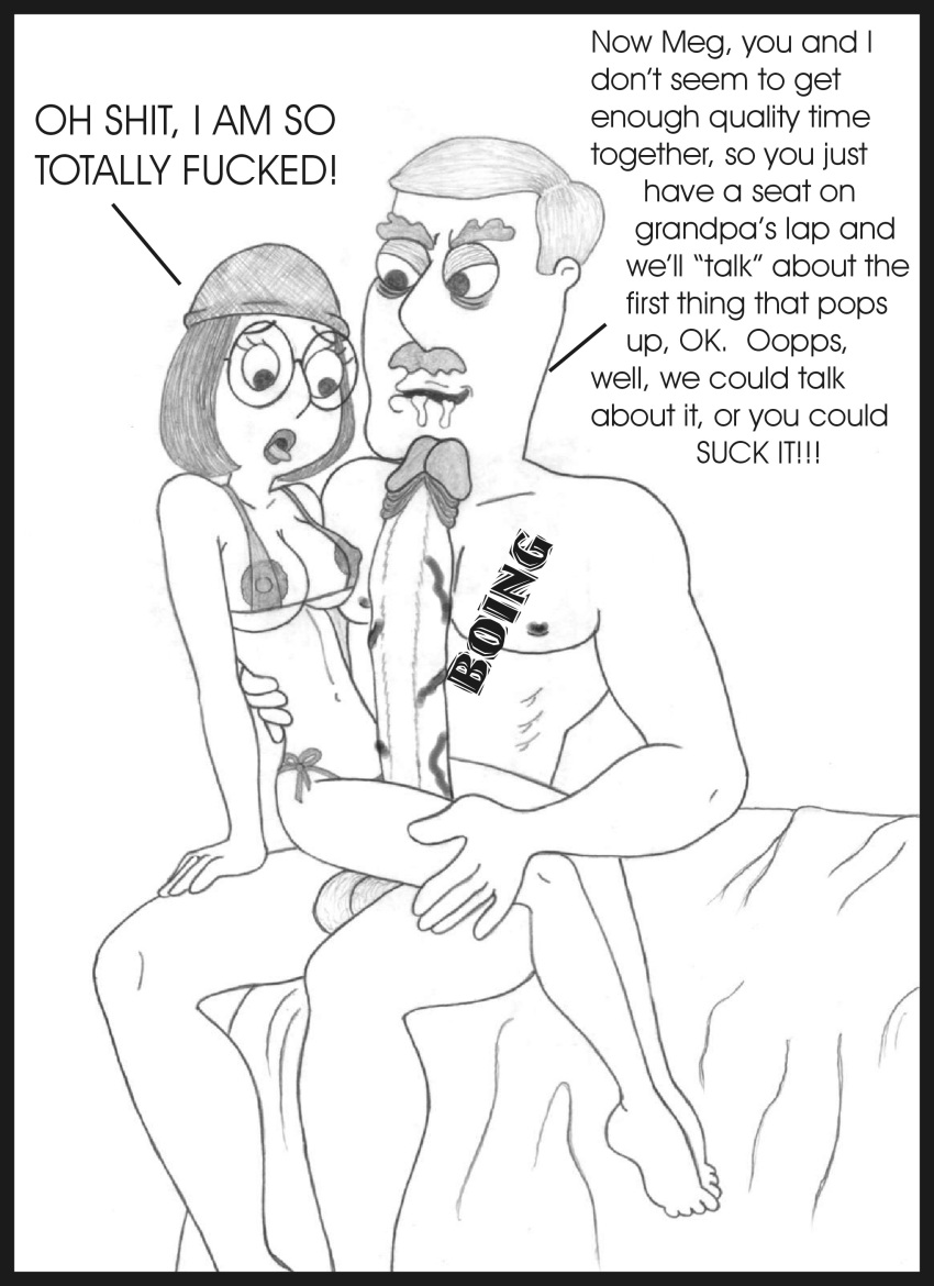 Family Guy Porn Pencil Art - bikini breasts carter_pewterschmidt family_guy  grandfather_and_granddaughter huge_cock human imminent_rape incest  large_breasts meg_griffin monochrome ...