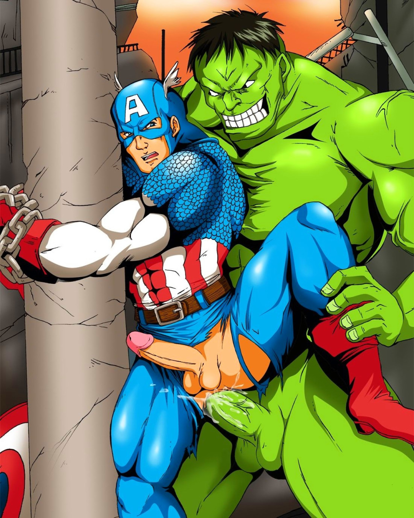 2boys abs anal anal_sex artist_request avengers belt biceps black_hair blue_eyes bondage boots bound_wrists bruce_banner captain_america cum cum_in_ass cum_inside doggy_style erection green_skin hulk leg_grab male male_only maledom malesub marvel mask multiple_boys multiple_males multiple_penises muscles nude pecs penis sex spread_legs steve_rogers tagme testicles torn_clothes uncensored yaoi
