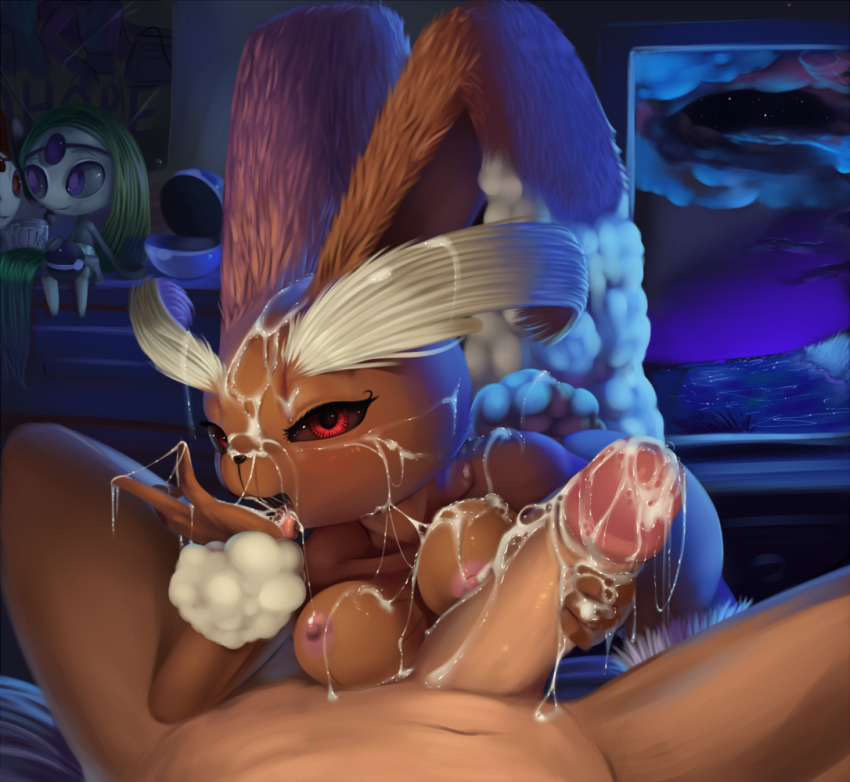 breasts brown_fur clouds cum cum_on_face cumshot fellatio female fur furry_breasts human indoors interspecies lopunny male male_pov meloetta ocean oral oral_sex orgasm poke_ball pokemon pokephilia pov red_eyes sex theboogie water