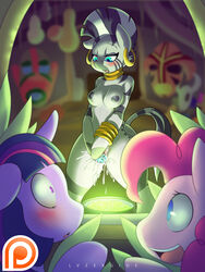 2015 anthro blush breasts cauldron cyan_eyes equine female friendship_is_magic horn horse lysergide mammal my_little_pony nipples nude pinkie_pie_(mlp) pony pussy_juice twilight_sparkle_(mlp) unicorn zebra zecora_(mlp)