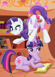 2girls anal ass blue_eyes book butt_plug clenched_teeth cutie_mark dildo duo equestria_untamed equine female friendship_is_magic fur hair horn horse library long_hair lying magic mammal multicolored_hair my_little_pony on_floor open_mouth pony purple_eyes purple_fur purple_hair rarity_(mlp) sex_toy smile twilight_sparkle_(mlp) uncensored unicorn