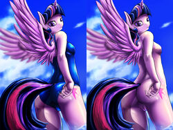2015 alicorn anthro anthrofied anus clothing cutie_mark d-lowell equine female friendship_is_magic horn looking_at_viewer mammal my_little_pony nude pussy solo swimsuit twilight_sparkle_(mlp) wings